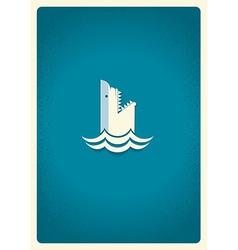 Shark logo blue symbol vector