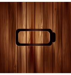 Battery icon Accumulator symbol Wooden texture vector image