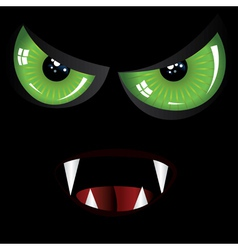 Evil face with green eyes vector image vector image