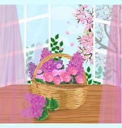 flowers basket vector image vector image