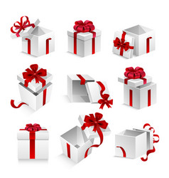 gift boxes with ribbon bow 3d icons set vector image