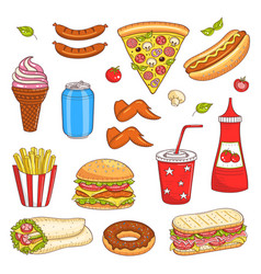 hand drawn of fast food vector image vector image
