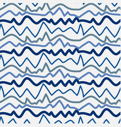 Pattern with blue lines hand drawn vector