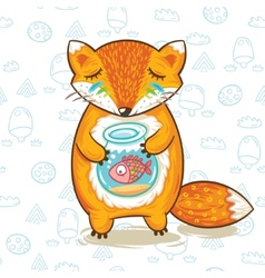 Print of cartoon fox with a little fish in vector image vector image