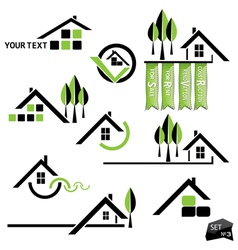 Set of houses icons for real estate business vector image
