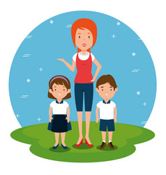 teacher with student cartoon vector image