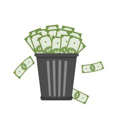 Trash full of money vector