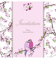 Beautiful floral invitation card with two parrots vector image vector image