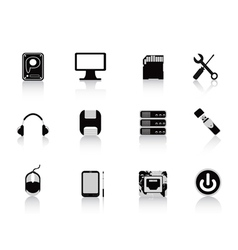 black computer equipment icon vector image vector image