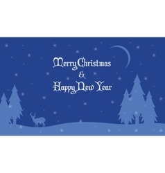 Merry Christmas landscape deer and spruce vector image vector image