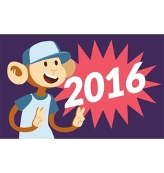 New Year text and monkey classic pop art design vector image