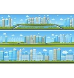 Urban landscape set with modern city vector image