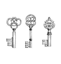 Vintage medieval keys sketches set vector image