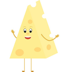 yellow cheese triangle cartoon slice character vector image