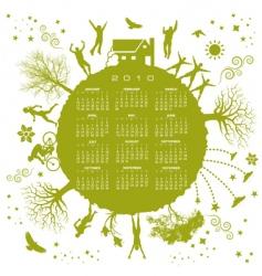 2010 green globe calendar vector
