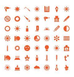 49 heat icons vector image