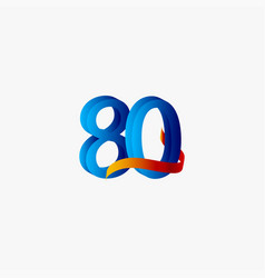 80 years anniversary celebration number blue vector