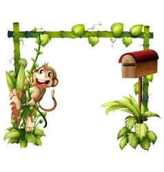 A monkey swinging beside a wooden mailbox vector image vector image