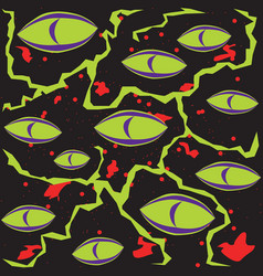 abstract green scary monster eyes on a black vector image