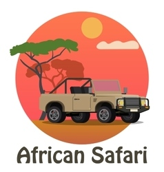 African safari - tourist jeep on background of vector