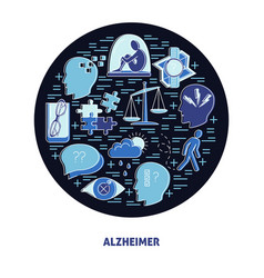 Alzheimer s symptoms round concept in line style vector