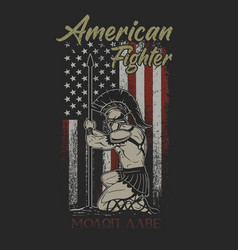 American fighter brave american flag grunge vector