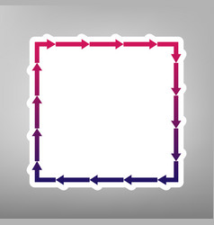 arrow on a square shape purple gradient vector image
