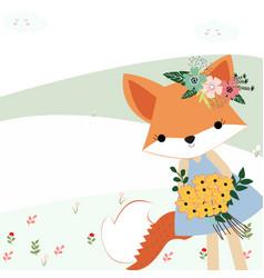 Baby fox girl the summer garden with her bunch vector