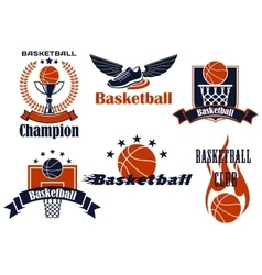 Basketball icons with shoes and balls vector image