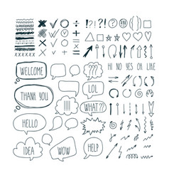 Big set of sketch arrows speech bubbles clouds vector