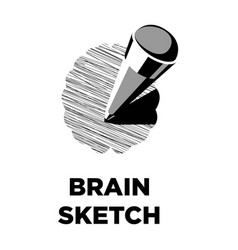 brain sketch pencil creative icon smart vector image