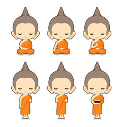 Buddhist Monk Character Design vector image