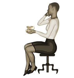 Business woman and coffee vector
