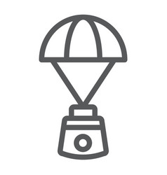 Capsule parachute line icon space and exploration vector
