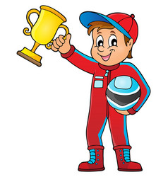 Car racer holding trophy theme image 1 vector