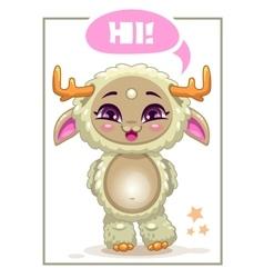Cartoon cute beige girl monster vector
