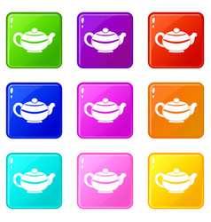 Chinese teapot icons 9 set vector