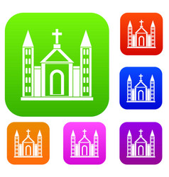 christian catholic church building set collection vector image