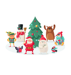 christmas cartoon characters new year animals vector image