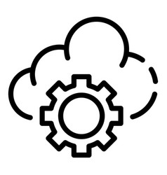 cloud gear icon outline style vector image