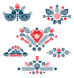 Collection of red and blue compositions of ethnic vector