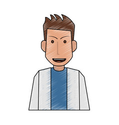 Color pencil half body caricature doctor male vector
