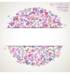Colorful square butterflies background with white vector image