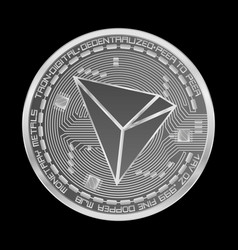 Crypto currency tron silver symbol vector