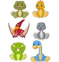 Cute baby dinosaurs cartoon collection set vector