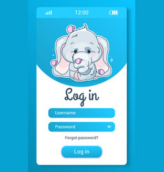 Cute elephant kids mobile app screen with cartoon vector