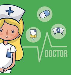 Cute nurse woman cartoon vector