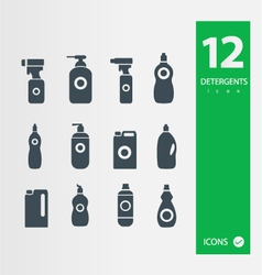 Detergent bottle icon set vector