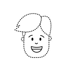 Dotted shape man head with hairstyle design vector