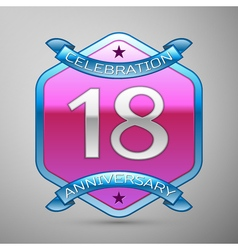 Eighteen years anniversary celebration silver logo vector